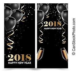 uitnodiging, groet, flyer, 2018, mal, jaar, nieuw, vrolijke...