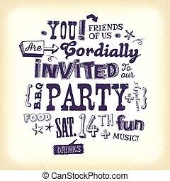 uitnodiging, hand, lettering, feestje, poster, ouderwetse
