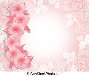 uitnodiging, hibiscus, huwelijk partij, roze, of