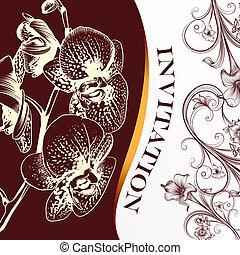 uitnodiging, huwlijkskaart, met, bloem, orchidee