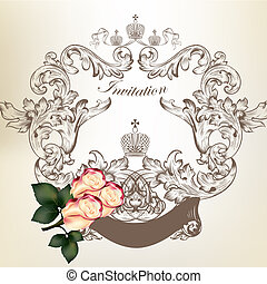 uitnodiging, huwlijkskaart, rozen, frame, ouderwetse