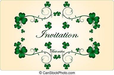 uitnodiging, met, klavertje, takken