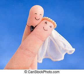 uitnodiging, -, newlyweds, huwlijkskaart, goed, vingers, geverfde, getrouwd, zelfs, blauwe hemel, gebruiken, tegen, concept