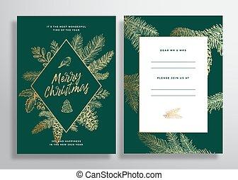 uitnodiging, of, mistletoe., achtergrond., schets, groet, back, takken, kerstmis, frame, voorkant, abstract, dennenboom, kaart, fijn, ontwerp, hulst, opmaak, strobiles, vector, poster, typography., gouden