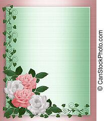 uitnodiging, rozen, trouwfeest, roze, witte