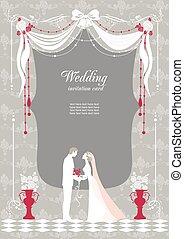 uitnodiging, tekst, trouwfeest, ruimte