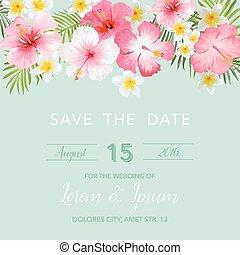 uitnodiging, -, tropische , floral, vector, achtergrond, trouwfeest, datum, sparen, kaart