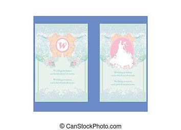 uitnodiging, trouwfeest, floral, elements., kaarten