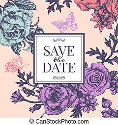 uitnodiging, trouwfeest, flowers., ouderwetse , roos