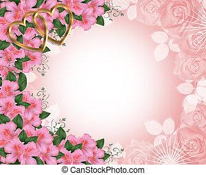 uitnodiging, trouwfeest, grens, azalea's, roze