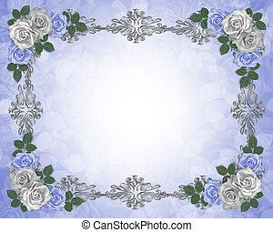 uitnodiging, trouwfeest, grens, elegant