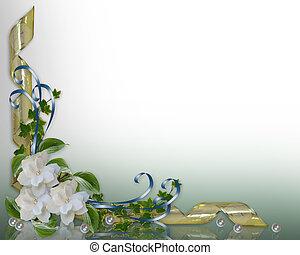 uitnodiging, trouwfeest, grens, gardenias