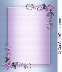 uitnodiging, trouwfeest, grens, lavendel, rozen