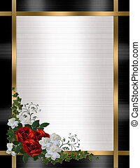 uitnodiging, trouwfeest, grens, rozen, rood