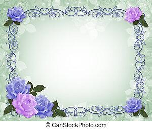 uitnodiging, trouwfeest, grens, rozen