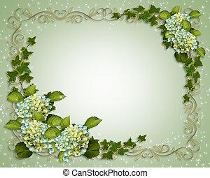 uitnodiging, trouwfeest, klimop, hortensia