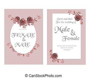 uitnodiging, trouwfeest, mal