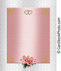 uitnodiging, trouwfeest, rooskleurig satijn, lelies