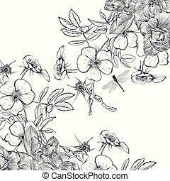 uitnodiging, wilde bloemen, vector, ouderwetse , elegant, roos