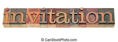 uitnodiging, -, woord, in, letterpress, type