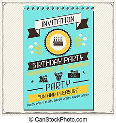 uitnodigingskaart, voor, jarig, in, retro, style.
