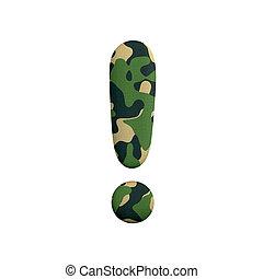 uitroep, leger, concept, leger, symbool, punt, -, oorlog, camo, survivalism, of, 3d