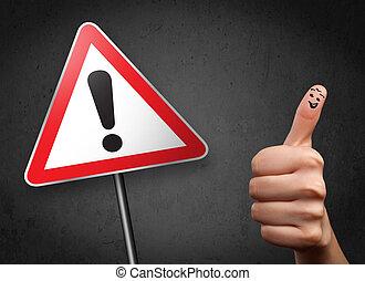 uitroep, vrolijk, driehoek, smiley, vingers, meldingsbord,...