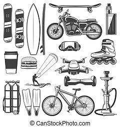 uitrusting, activiteit, sportende, hobby, iconen