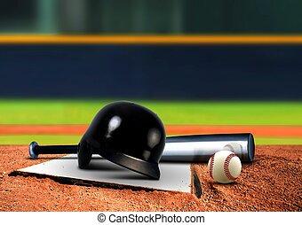 uitrusting, base, honkbal