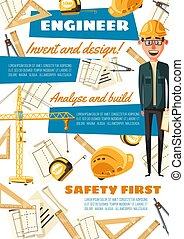 uitrusting, bouwsector, beroep, ingenieur