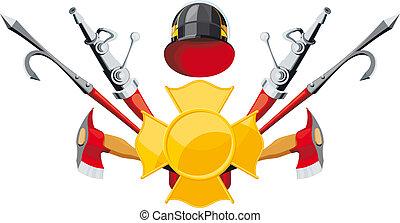 uitrusting, brandbestrijding, embleem