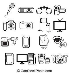 uitrusting, elektronisch, iconen