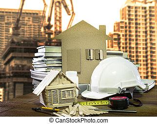 uitrusting, en, werktuig, thuis, en, huizenbouw, industrie,...