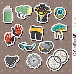 uitrusting, fiets, stickers, spotprent