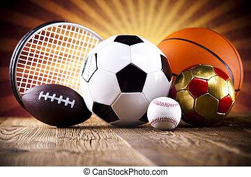 uitrusting, geassorteerd, sporten