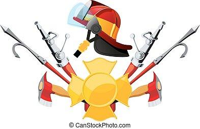uitrusting, gereedschap, brandweerman