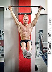 uitrusting, gym, man, jonge, hangend
