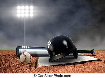 uitrusting, honkbal, schijnwerper, onder