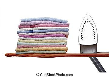 uitrusting, housework, kleren, ironing