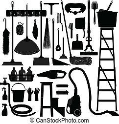 uitrusting, huisgezin, huiselijk, werktuig