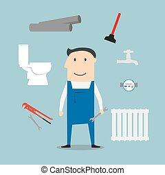 uitrusting, installatiebedrijf, gereedschap
