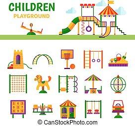 uitrusting, kinderen, speelplaats