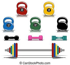 uitrusting, kleurrijke, fitness