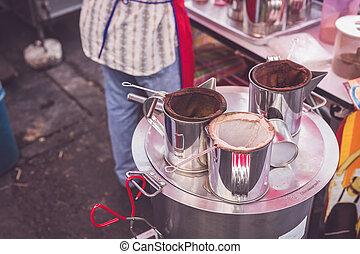 uitrusting, koffie, lokale markt, thailand