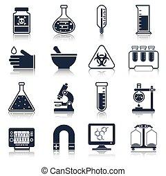 uitrusting, laboratorium, black , iconen