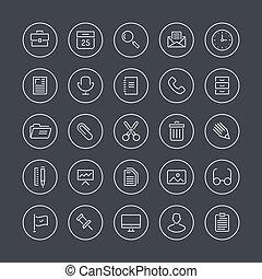uitrusting, lijn, plat, de pictogrammen van het bureau