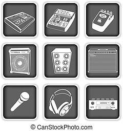 uitrusting, muziek, iconen