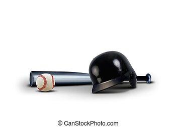 uitrusting, op, honkbal, witte