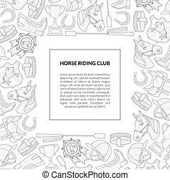 uitrusting, paarde, ruiter, school, club, tekst, club, model, horseback, lessen, vector, plek, illustratie, mal, getrokken, monochroom, hand, spandoek, paardrijden
