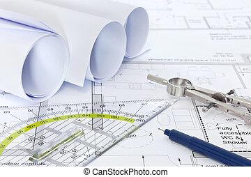 uitrusting, plannen, architecturaal, tekening